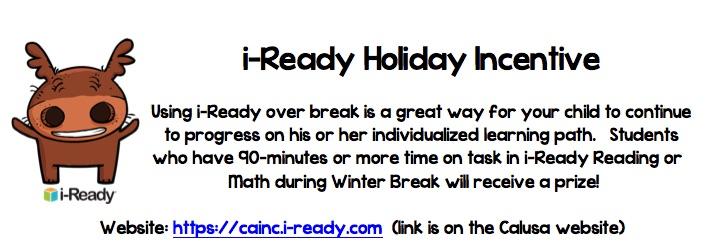 i-Ready Holiday Incentive