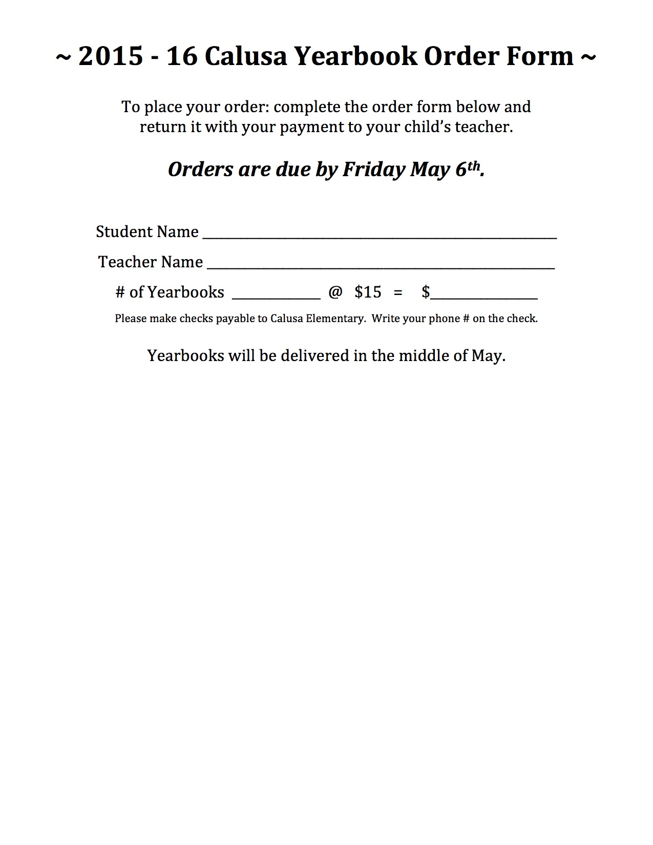 Yearbook Order Form 2016