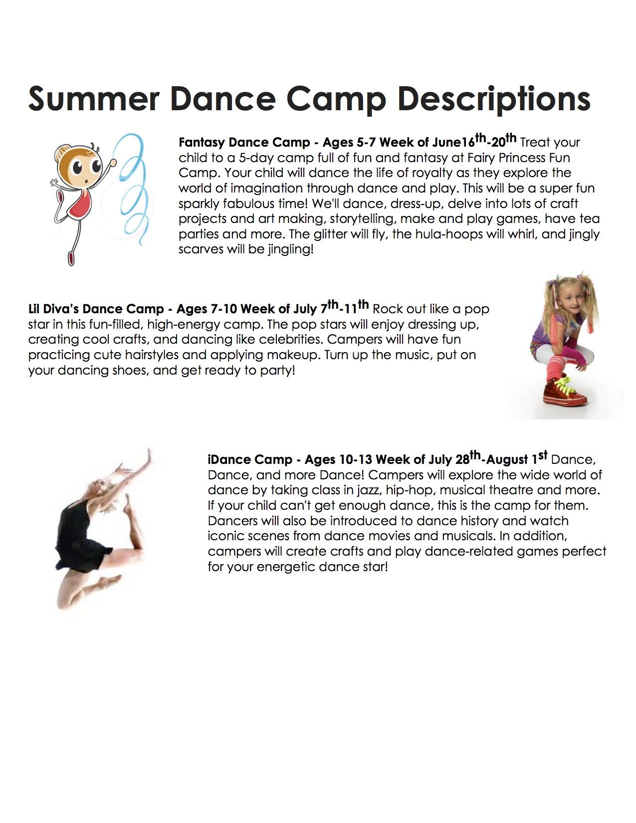Summer Dance Camp Descriptions