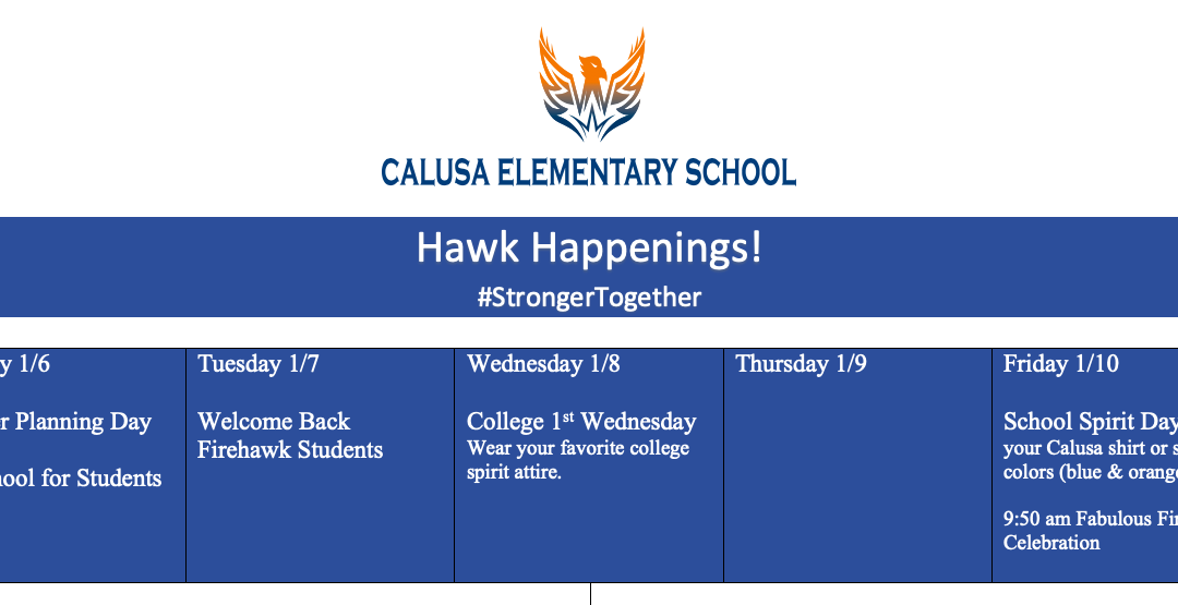 Hawk Happenings! Week of January 7, 2020
